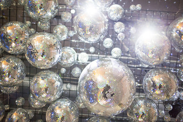 Low angle view of disco balls on ceiling