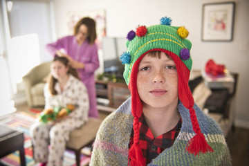 Portrait of Caucasian boy wearing Christmas tree stocking-cap