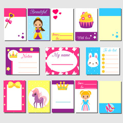 Cards, sticky notes, stickers, labels, tags, with cute princess characters. Template for kids scrapbook, invitations. Stationery for girls blogs