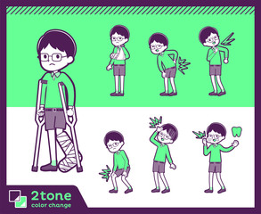 2tone type Green clothing glasses boy_set 08