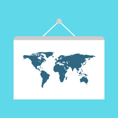 World travel map. Travel pin location on a global map. Flat vector illustration.