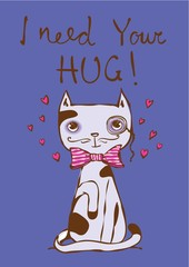 Vector card with cute cat and hand drawn funny Valentine text.