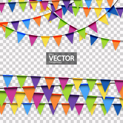 colored party garlands with vector transparency