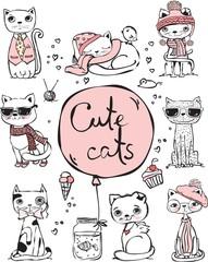 Vector illustration of cat set for greeting card design, t-shirt print, inspiration poster.
