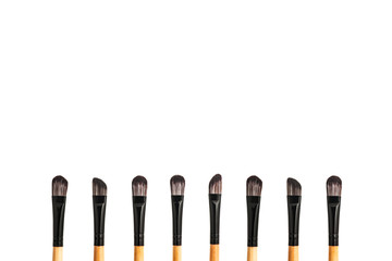 Set of brush makeup on white background