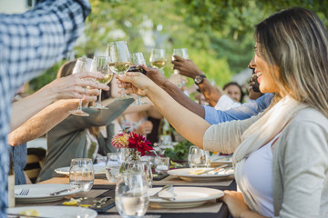Friends toasting with wine at party outdoors