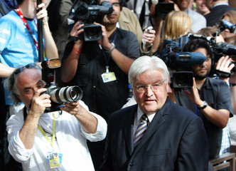 German FM Steinmeier arrives at European Union foreign ministers meeting in Brussels