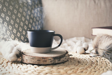 Morning of weekend with cup of coffee