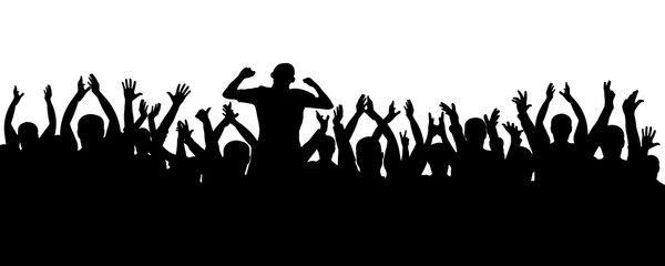 Crowd of jubilant people silhouette. Sports fans. People applaud. Concert, party, disco