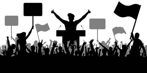 Oratory art, politics. Crowd of people demonstrating silhouette. Demonstration isolated on white background, vector