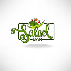 salad bar logo, emblem and symbol, lettering composition with line art image of green leaves and red tomatoes