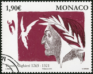 MONACO - 2015: shows Dante Alighieri (1265-1321), Italian Poet, 750 anniversary of birth