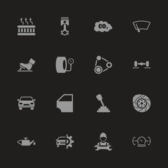 Auto icons - Gray symbol on black background. Simple illustration. Flat Vector Icon.