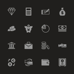Banking icons - Gray symbol on black background. Simple illustration. Flat Vector Icon.