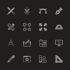 Blueprint icons - Gray symbol on black background. Simple illustration. Flat Vector Icon.