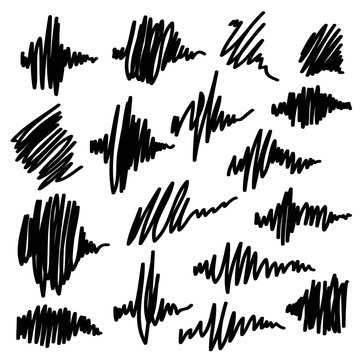 Scribble brush strokes set. Equalizer icons