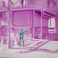 Robot couple hugging in futuristic pink city