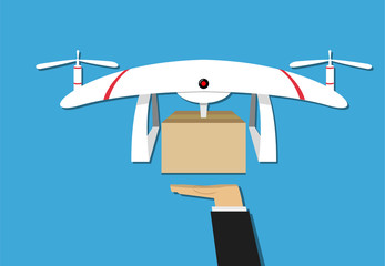Man get a gift from drone delivery, vector design