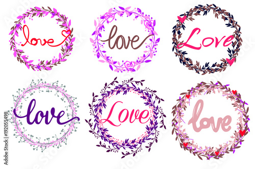 St.Valentines day concept. Word love in different flower frames ...