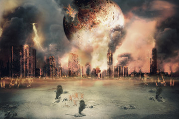 Burnt planet / Planet landscape and burnt city, judgement day. Digital retouch.