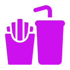 fries and soft drink  icon