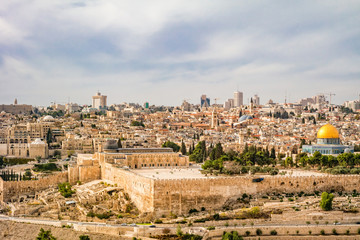 Panoramic view to Jerusalem old city.