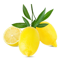 Fresh lemon with leafs isolated on white background with clipping path