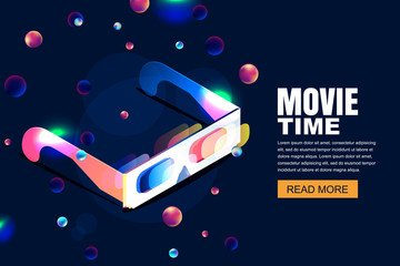 Vector glowing neon cinema, movie illustration. 3d glasses in isometric style on abstract night cosmic sky background. Design template with copy space for banner, poster, sale cinema theatre tickets.