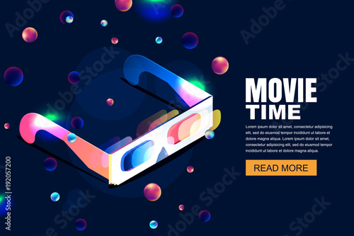 Vector Glowing Neon Cinema Movie Illustration 3d Glasses In Isometric Style On Abstract Night