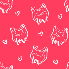 Valentine's day pattern with hands and hearts on red background. Vector.