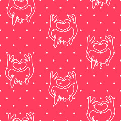 Valentine's day pattern in polka dot with contour hands on red background. Vector.