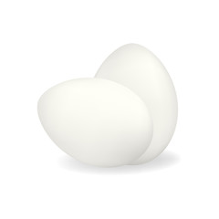 Two white vector realistic chicken eggs with shadow isolated on white background. Standing and lying eggs composition mockup for subsistence farming market or store design, easter advertisement