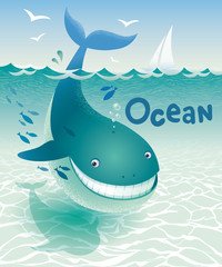 Blue Whale Ocean. Underwater landscape. Vector illustration.