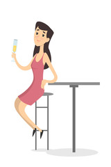 Woman in bar.