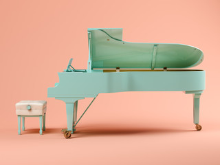 Blue grand piano on pink background 3D illustration