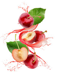sweet cherry in juice splash isolated on a white background