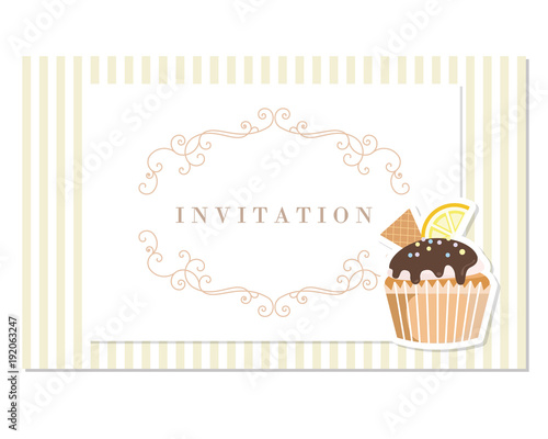Vintage greeting card template. Filigree frame on stripped retro ...