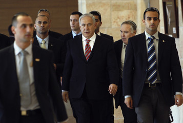 Israel's Prime Minister Netanyahu arrives for a Likud party meeting in Jerusalem