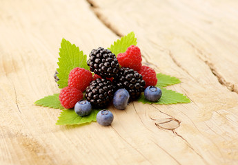 forest berries on a wooden background