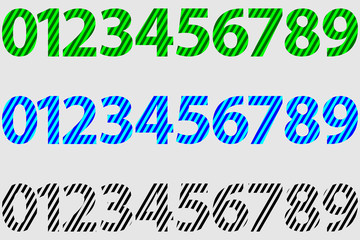 Numbers 0,1,2,3,4,5,6,7,8,9, - vector set - striped pattern