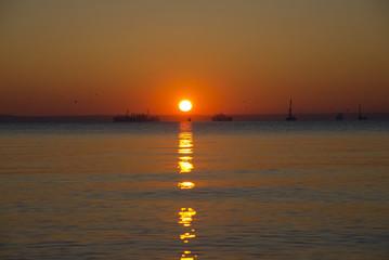 Amazing sea sunset on the Cape Panagia of the Taman Peninsula