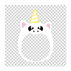 White unicorn mask - photo sticker. Make your baby a unicorn.