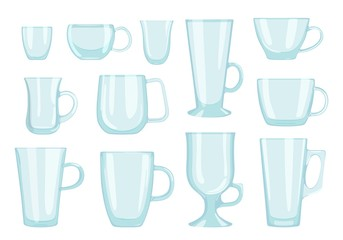 Set of glass cups for coffee and tea drinks. Vector