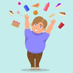 Vector cartoon fat boy catching sweets