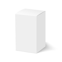 Blank of closed cardboard box with soft shadow. Cosmetic box. Vector