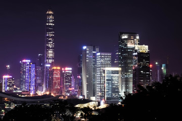 Skyline of the modern business district of Shenzhen, city famous for its technology, Guangdong, China