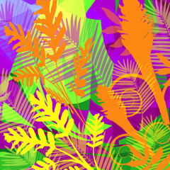 Electric Neon Bright trending colors with natural jungle leaves and plants and geometric abstract unique art background.