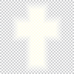 Shining Holy Cross on abstract background. Grey white halftone modern bright art. Blurred pattern background.