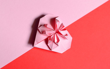 Pink paper heart for Valentines day
