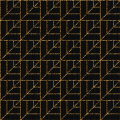 Seamless pattern based on japanese sashiko. Stylized leaves scratched texture. Inclined golden motif. Black background. Abstract geometric backdrop.
